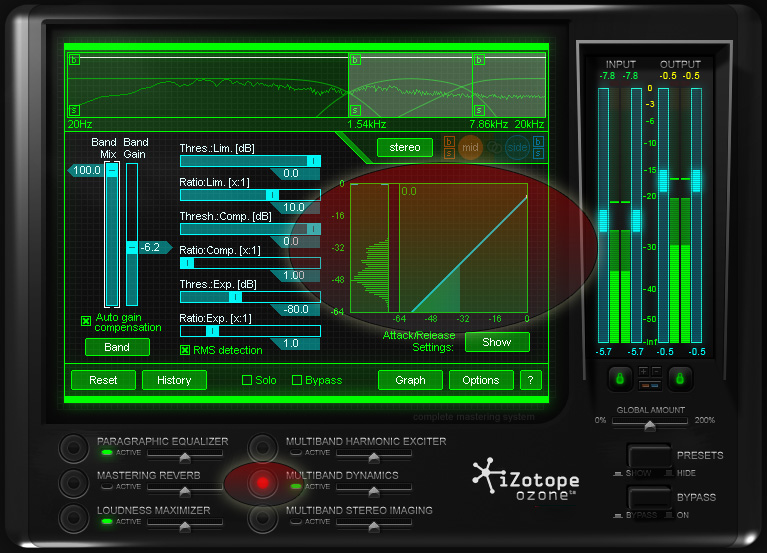 Click Ozone's Multiband Dynamics to access multiband compression, but don't compress your film audio too much!