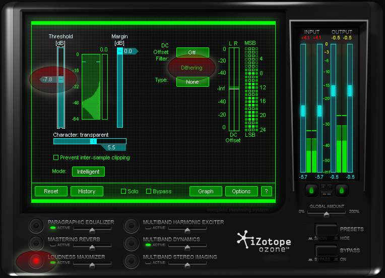 Ozone's Loudness Maximizer gives you options to increase the loudness of your film without it distorting.