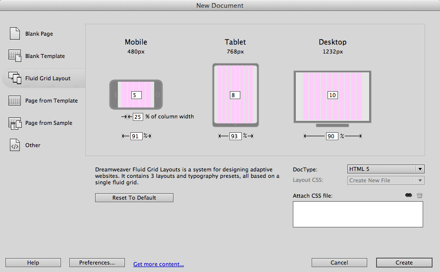 The Fluid Grid Layout tops Dreamweaver's new features, allowing websites to be accessed through multiple devices.