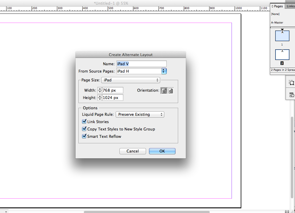 Design for horizontal and vertical tablet layouts simultaneously with InDesign CS6.
