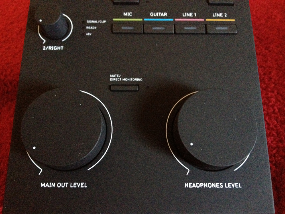 Balance's Main Output Level and Headphone Level knobs are some of the classiest compared to similar audio interfaces like the Presonus FireStudio Mobile.