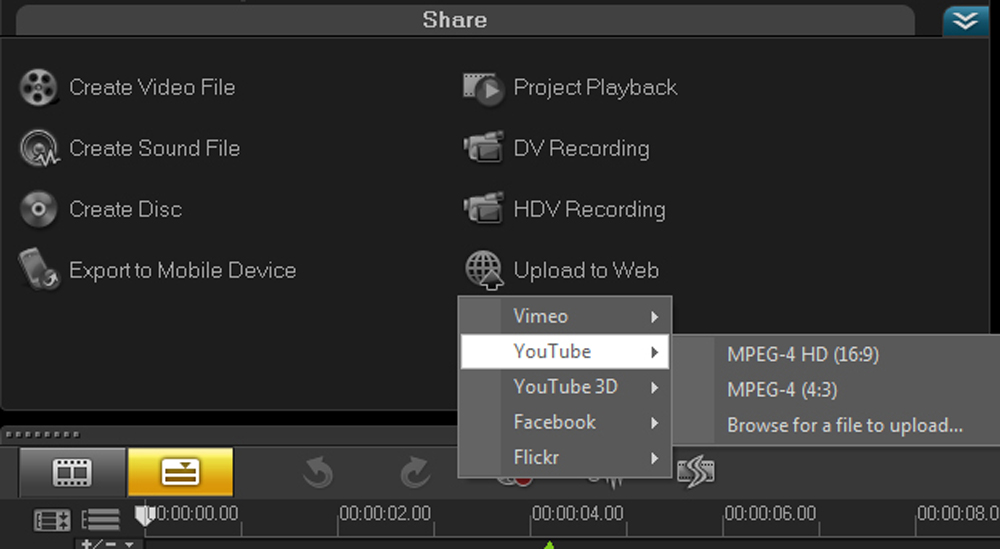 Done editing? You're just a click away from Youtube or Facebook!