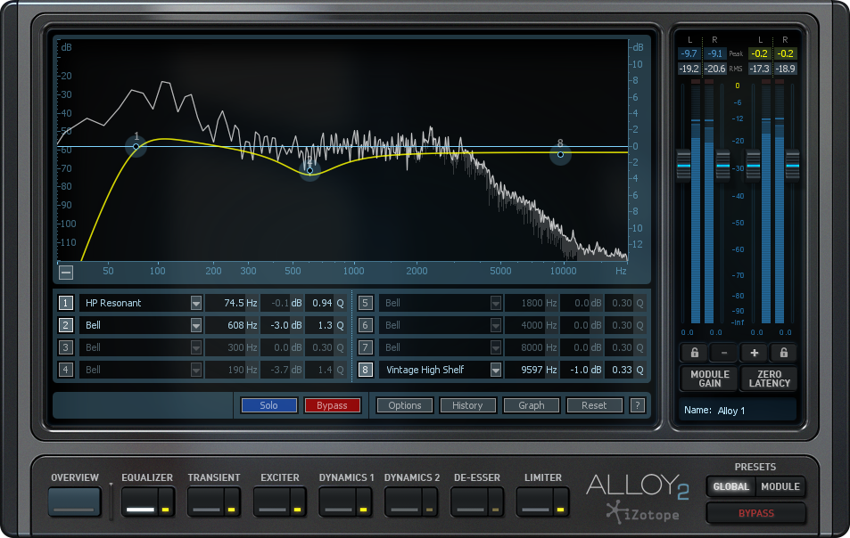 Alloy 2's EQ sounds fabulous and is loaded with options.