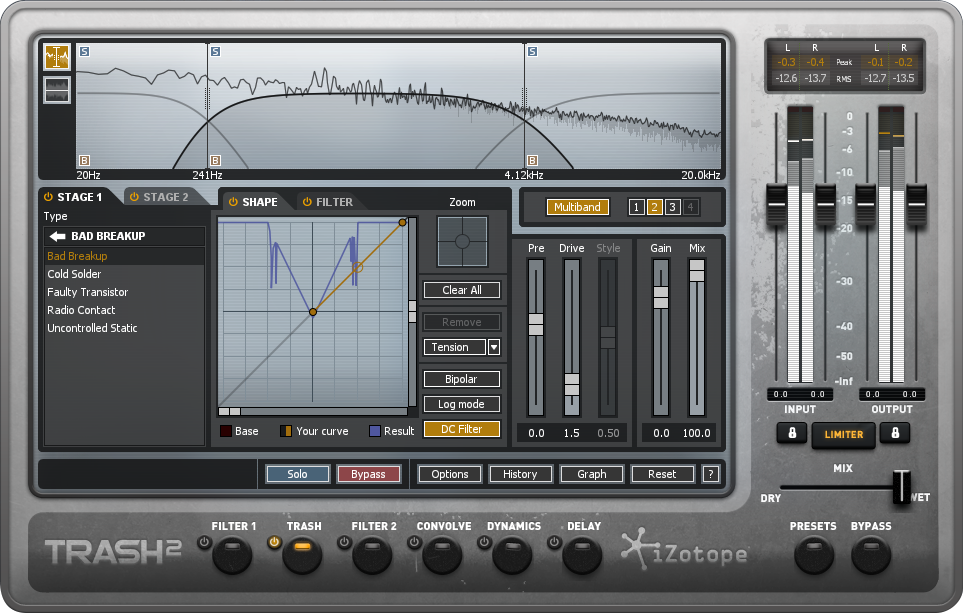 Like most iZotope plugins, all effects within Trash 2 are easily accessible at the bottom of the plugin's interface.
