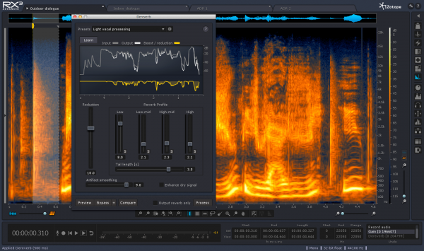 Dereverb is a feature new to the RX line. It literally allows users to take out reverb from recordings. This feature performed much better than expected!