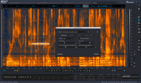 This fancy feature -- Spectral Repair -- allows users to take out unwanted sounds from their recordings. Need to get rid of a bed of crickets from the background? No problem. Spectral Repair can do that.