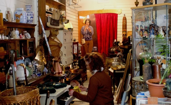Production Designer and Producer Sophie Black carefully selected and positioned every prop in this scene in the charity shop from Stop/Eject.