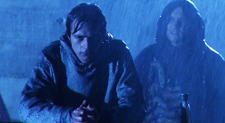 The rain in this shot from Soul Searcher is fake, but it's backlight that makes it show up.