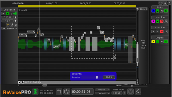 One feature of Revoice Pro 3 is pitch correction, though this is not where the product shines the brightest. Melodyne, at the time of this review, still takes the stage for its ease of use and accuracy in the area of pitch correction.
