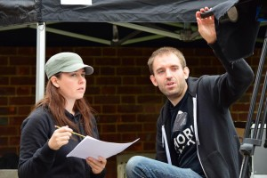 Discussing the next set-up on the Ren pick-ups shoot with director Kate Madison.