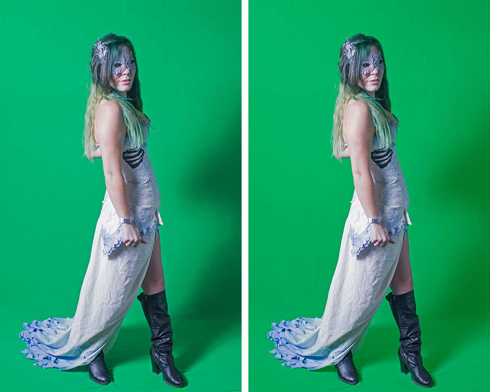 Left: Original green screen shot. Right: Shot with background smoothed.