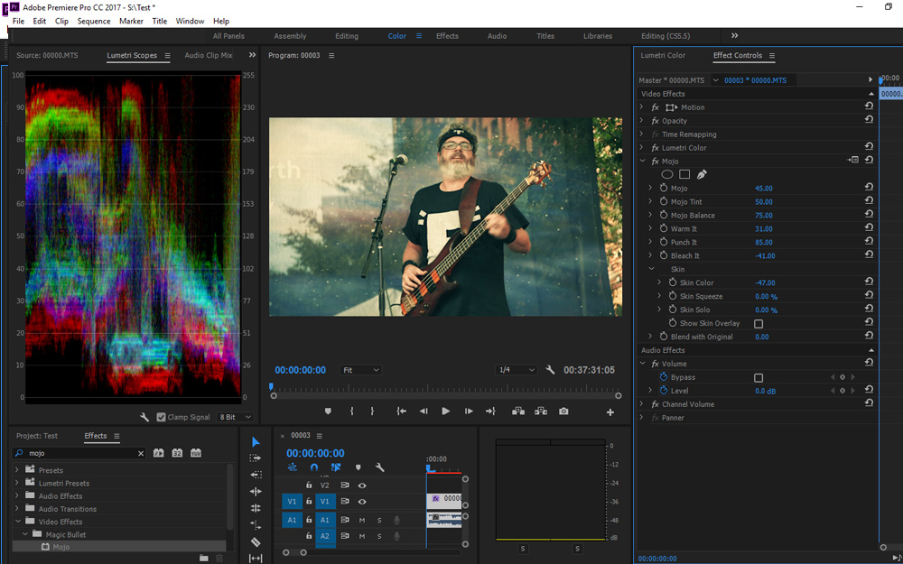 Quickly punch your footage and skin tones with Mojo.