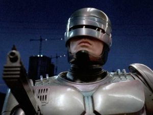 Robocop (1987, dir. Paul Verhoeven) – note the fluorescent strips reflected in the suit.