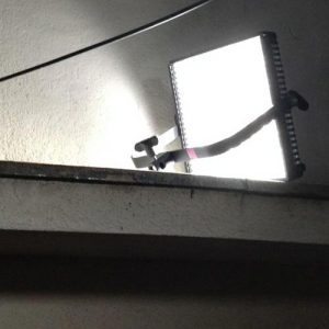 LP-1×1 LitePanel, set up in seconds on a lintel in a street location in Japan for the sci-fi thriller Synced.