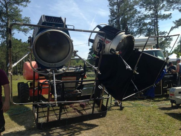Two 18K Silver Bullet HMI fresnels rigged to a condor crane to provide moonlight for a night exterior on The Little Mermaid