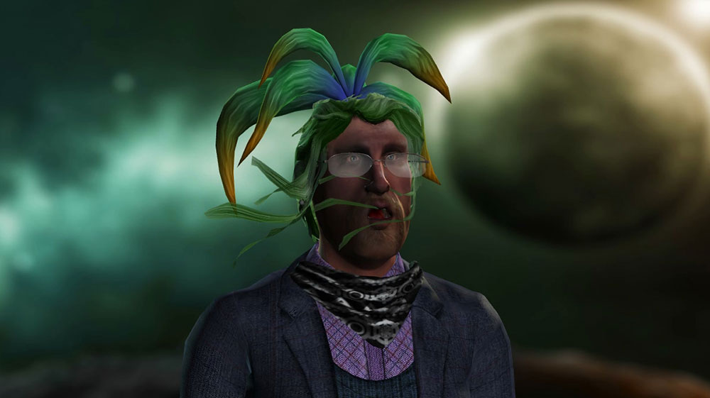 The garish wig helps hide a Klingon-style deformity in forehead.