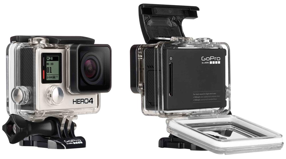 The Hero4 black lacks the rear screen of the other cameras we looked at.