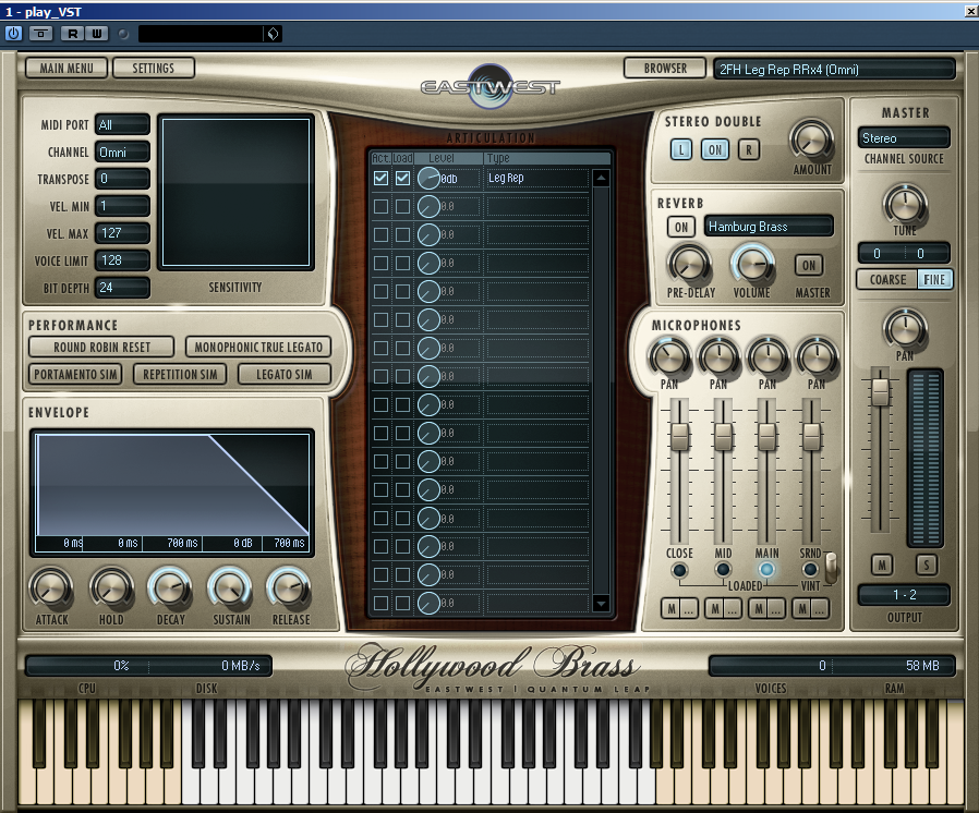Hollywood Brass offers a simple, user-friendly interface with access to nearly every control.