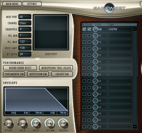 Access settings such as 'Round Robin' and 'Monophonic True Legato' to achieve the precise sound you are searching for.