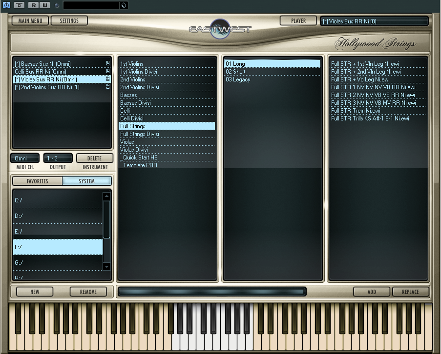 String samples can be easily searched and chosen in Hollywood String's sample browser window.