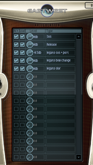 Easily see your selected string articulations in Hollywood String's main interface window.
