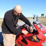 DPA_Sound Libraries_Watson Wu rigging DPA 4061 on BMW K1200 RS motorcycle